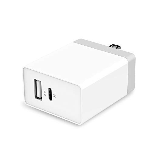 Pixel Wall (USB C PD Wall Charger, UMECORE 30W USB-C Quick Charger & 2.4A USB Portable Travel Charger for 2017 MacBook Pro, Pixel 3/2/XL, Samsung Galaxy S9+ / Note8, iPad Pro 2018 and More)