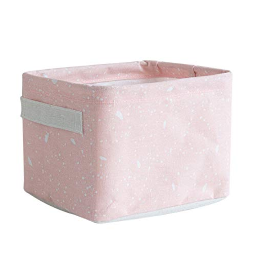 Fan-Ling Home Fabric Basket Box Storage Ornaments Linen Cosmetic Case Desktop Stationery,Storage Basket for Storing Parts, Stationery, Crafts, Jewelery (Pink) (Desk With And Tv Wall Unit)