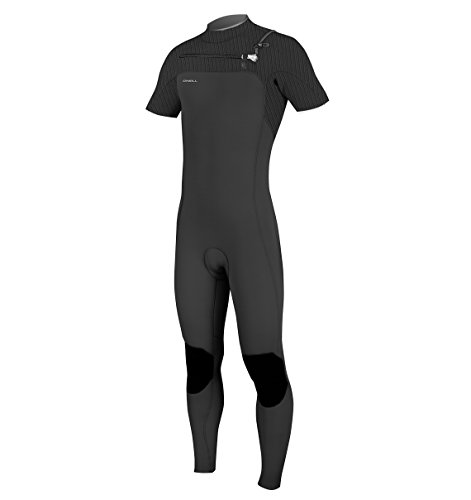 (O'Neill Men's Hyperfreak 2mm Chest Zip Short Sleeve Full Wetsuit, Black, Large Short)