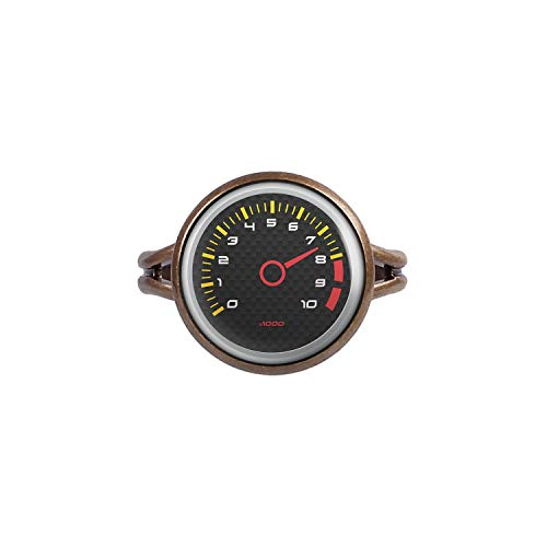 (Mylery Ring with Cabochon Picture Speed ??Meter Tachometer RPM Revolutions Instrument Display Carbon Bronze 0.55 inch)