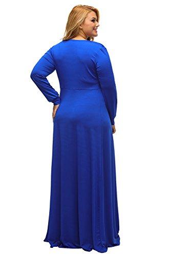 Femme Bleu Taille plus col en V plongeant et manches longues Maxi robe d'été Robe en jersey Long fête Cruise Prom Robe de cocktail Taille XL UK 14EU 42