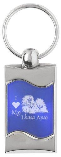 Wave Key Tag - I Love My Lhasa Apso - Blue