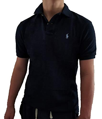 Polo Ralph Lauren Classic Fit Mesh Polo Shirt (X-Large, Black Navy Heather/Madeira Silver) (Ralph Lauren De)