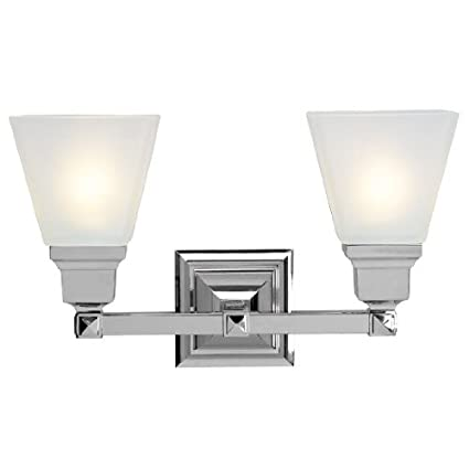 Livex Lighting 1032 05 Mission 2 Light Vanity Polished Chrome With Frosted Glass