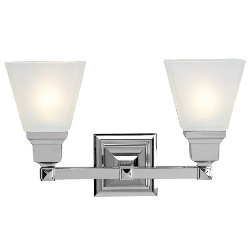 Livex Lighting 1032-05  Mission 2 Light Vanity Polished Chrome with Frosted Glass by Livex Lighting