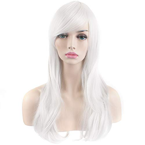 "AKStore Fashion Wigs 28"" 70cm Long Wavy Curly Hair Heat Resistant Wig Cosplay Wig For Women With Free Wig Cap (White)"