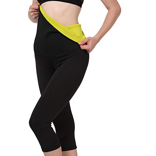Gowhods Womens High Waist Slimming Sweat Sauna Pants-[Neoprene & Spandex] Stitching Fabric, Compression Hot Thermo Body Shaper Capri Leggings for Waist Training and Fat Burning