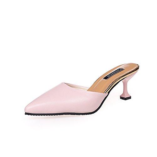 GAOLIM Baotou Zapatillas Verano Punta Fina Con Alta Heel Shoes Cool Zapatillas La Mitad De Arrastre Y Un Desgaste Exterior Zapatos De Mujer Rosa
