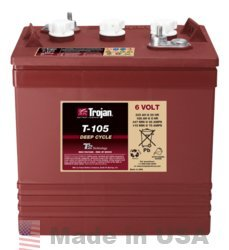 TROJAN T-105 6V, 225AH (20HR) GOLF CART BATTERY by Trojan Batteries
