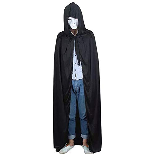 Party Diy Decorations - Halloween God Of Death Cloak Hooded Cape Witch Adult Unisex Devil Robe Floor Length Cosplay Party - Gown Devil Long Angel For Wedding With Fork Evening Formal -