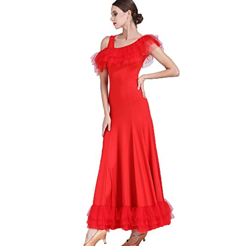 Unique Dancewear Wqwlf Performance Costume Professionnel Salon Danse xl Sens Pour Sociale Red Épaules De Pratique Femme Robe Valse qvrZpWrwn