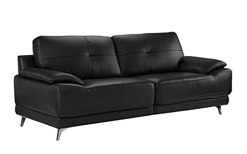 Black Italian Couch (Divano Roma Furniture - Modern Living Room Leather Sofa (Black))