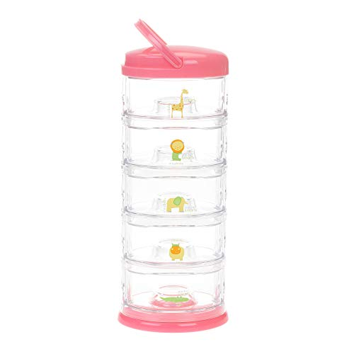 (Innobaby Packin' Smart Stackable and Portable Storage System for Formula, Baby Snacks and More. 5 Stackable Cups in Strawberry Sorbet. BPA Free.)