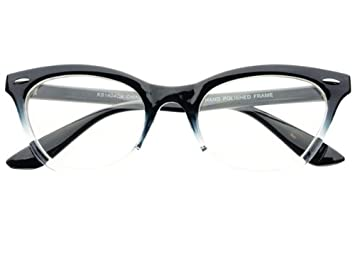 new womens half tinted modern retro clear lens cat eye glasses frames black - Modern Glasses Frames