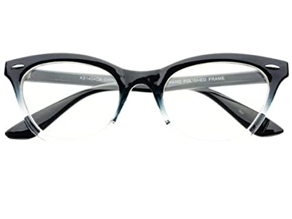 b6dbf70c6749 Image Unavailable. Image not available for. Color: New Womens Half Tinted  Modern Retro Clear Lens Cat Eye Glasses Frames ...