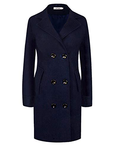 Women's Winter Classic Double Breasted Laple Long Wool Trench Coat Overcoat (Medium, WS01 Navy)