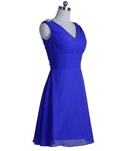 Fashion Plaza Robes de mariée longueur au genou double D0323 (EU44, Bleu Foncé)