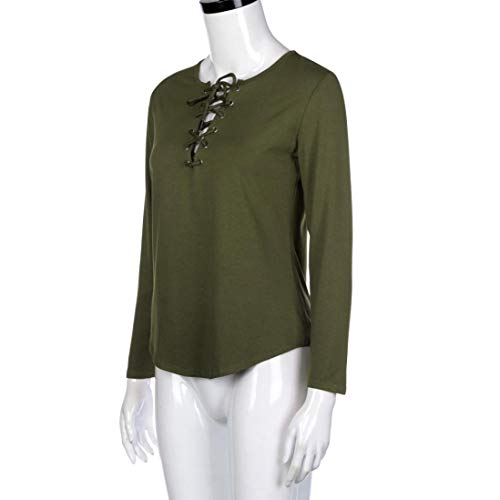 Vert Mode Blouse Tops LULIKA Chemise T Femmes LaChe Longues Shirt Manches Casual Bandage 7OOwZxdqY