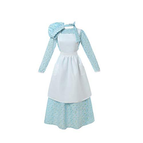 NSPSTT Women American Pioneer Colonial Dress Costume Girls Prairie Dress Civil War Floral Dress