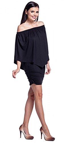 Zeta Ville - Vestido de tubo cuello bardot doble capa diseño - para mujer - 293z Negro