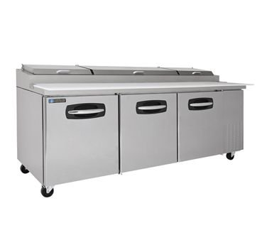 Master-Bilt MBPT93 Fusion Three Section Refrigerated Pizza Prep Table with (12) 1/3 Pan Capacity & (3) Solid Doors