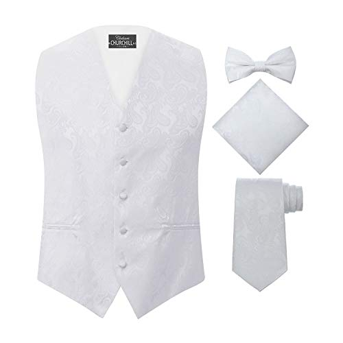 S.H. Churchill & Co. Men's 4 Piece Paisley Vest Set, with Bow Tie, Neck Tie & Pocket Hanky - M, White