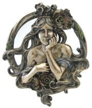9.5 Inch Cold Cast Bronze Finish Art Nouveau Poppy Lady Mirror