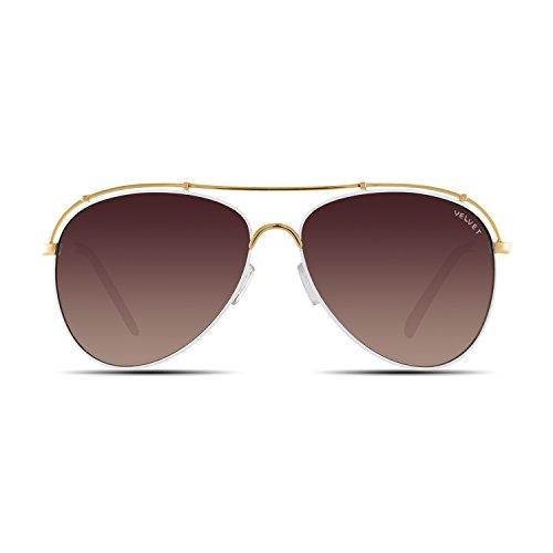 (Velvet Trends Mia   Aviator Metal Frame Women Sunglasses (White Gold Frame/Brown Fade)