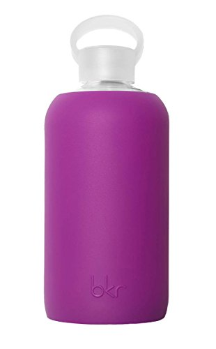 bkr - BEST Original Glass Water Bottle - Premium Quality - Soft Silicone Protective Sleeve - BPA Free - Dishwasher Safe (32oz / 1L)- Lola - Opaque Fuchsia