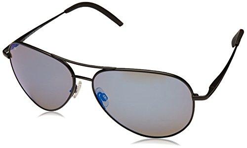 Serengeti 8295 Carrara Sunglass, Satin Black Frame, Polarized 555nm Blue Lens