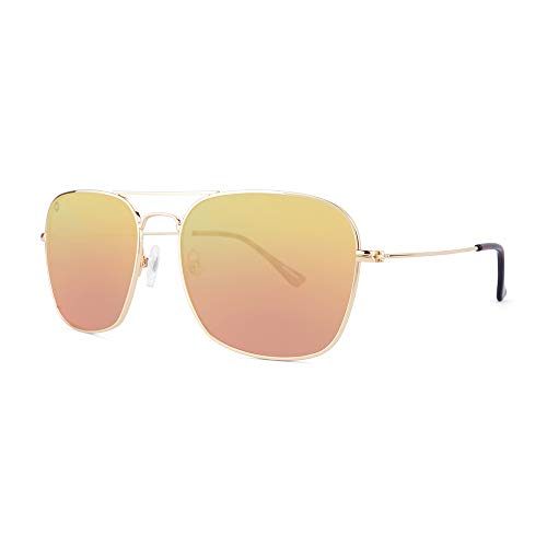 - Knockaround Mount Evans Polarized Squared Aviator Sunglasses With Rose Gold Metal Frames/Copper Reflective Lenses