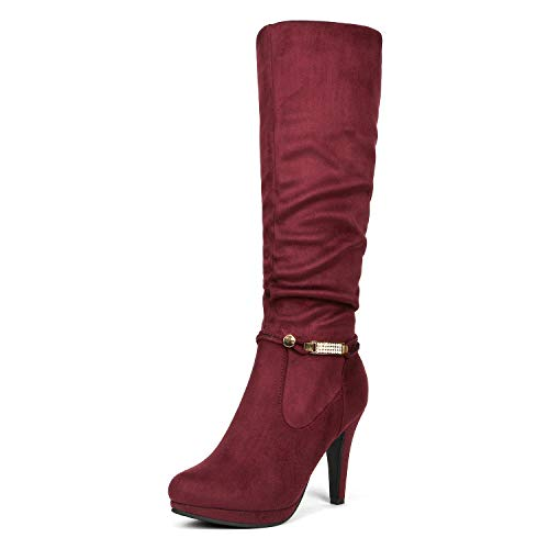 - DREAM PAIRS Women's Sarah Burgundy Knee High Platform Heel Boots Size 7 M US