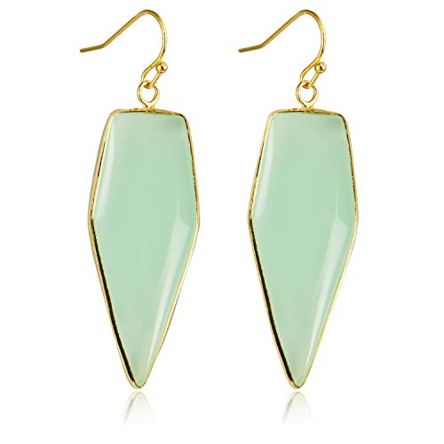 Stone Crystal Dangle Drop Earrings Teardrop/Oval Stylish Jewelry for Women Ladies Girls (Green Glass(Sword)) ()
