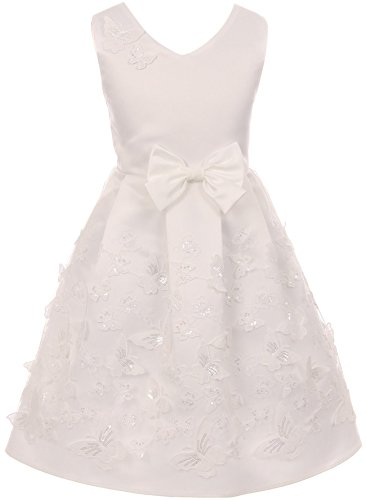 - Little Girls V Neck Satin Top Butterfly Mesh Lace Bow Flower Girl Dress USA Off White 2 (2J1K1S2)