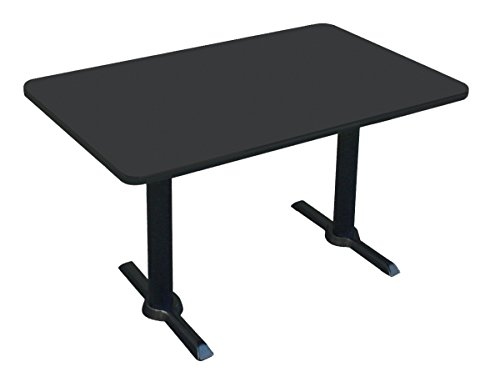 "Correll BTT3060-07 -30""x60"" Rectangular Bar, Café, Break Room Table, Black Granite Top & Black T Bases, Made in The USA"