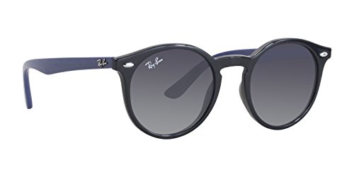 Ray-Ban Junior Kids' Injected Unisex Sunglass Round, BLACK, 44 mm (Prescription Toddler Sunglasses)