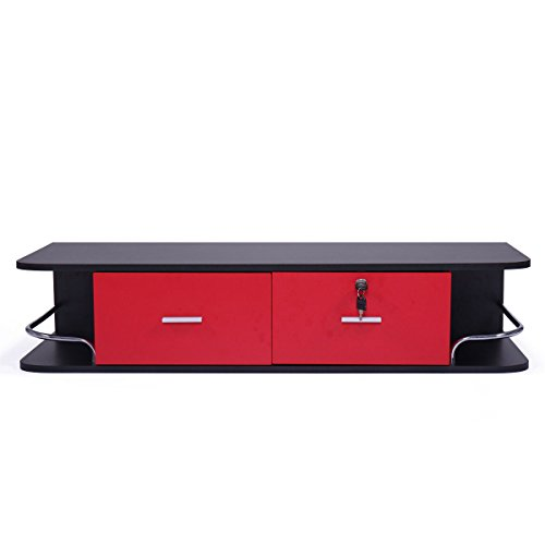 JAXPETY Locking Wall Mount Styling StationwithStainless Steel Top, Black Metal Tabletop Appliance Holder & Two Drawers (Red)