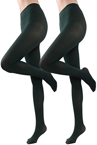 HeyUU Women's Semi Opaque Solid Color Soft Footed Pantyhose Tights 2 Pack Olive Drab