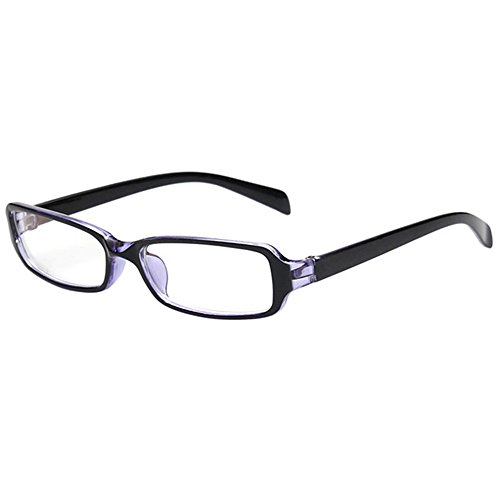 FancyG Vintage Inspired Classic Retro Style Rectangle Shape UV Protection Blue Tint Glasses Frame Clear Lens Eyewear - Black Purple (Clear Blues Shape)