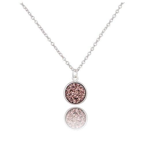 KUIYAI Round Faux Druzy Stone Necklace Galactic Wedding Jewelry (Brown) by KUIYAI