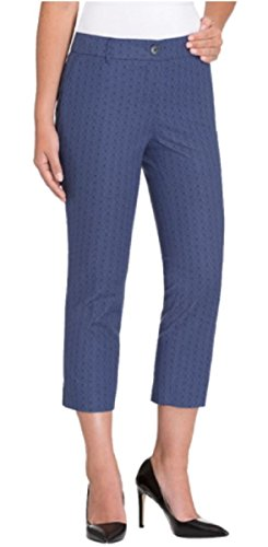 Hilary Radley Womens Stretch Slim Leg Crop Pant (8, Blue Combo) (Crop Pant Zip)