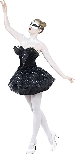 Smiffy's Women's Gothic Swan Masquerade Costume, Dress, Carnival of the Damned, Halloween, Size 14-16, 27313