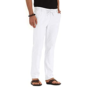 ZYFMAILY Men's Drawstring Casual Beach Trousers Linen Summer Pants