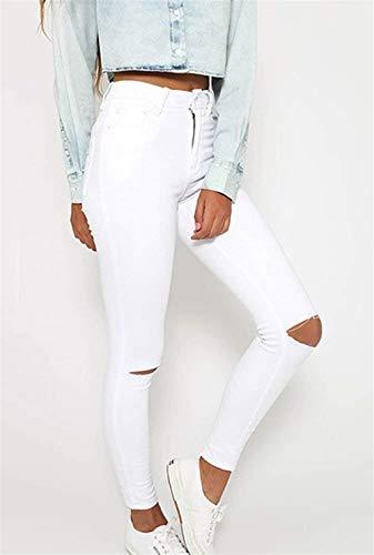 Alta Blanco Pantalones Las Al Color Estiramiento Cintura Ropa Libre Sólido Botón De Vaqueros Aire Rasgado Mujeres Lápiz Casuales Agujero wU0UtZ