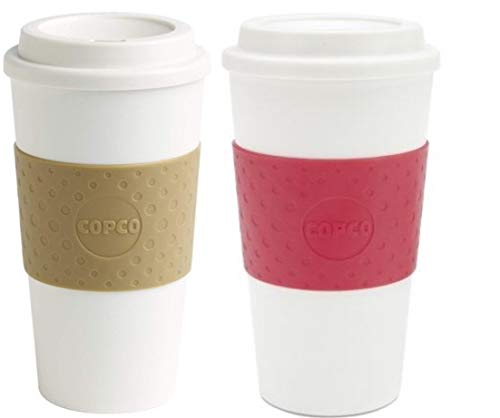 Copco Acadia Double Wall Insulated 16 oz Travel To Go Mug with Non-Slip Sleeve, Set of 2, Commuter Friendly, Drink On the Go (Tan/Apple Red)