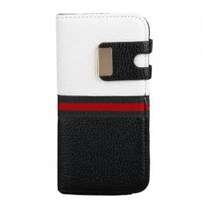 Litchi Grain Magnetic Double Color Leather Case for iPhone 5/5S White and Black