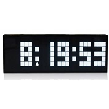 Tamaño grande número ECVISION Jumbo LED Snooze Pared Escritorio Retro reloj despertador con calendario - Luz Blanca: Amazon.es: Electrónica