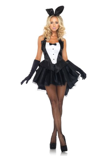 3 PC. Ladies Tux & Tails Bunny Costume Set - Medium/Large - Black/White]()