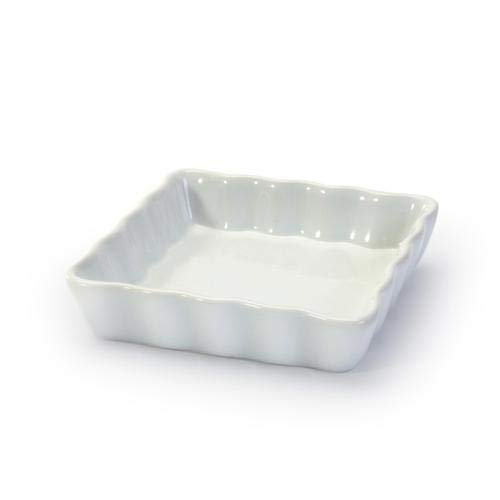 GOURMEX White, Square, Fluted Quiche Baking Dish | Ceramic Nonstick Pan | Perfect for Baking Small Tart Pies, Creme Brulee, Custard Dishes and MIni Cheesecake | Porcelain (4