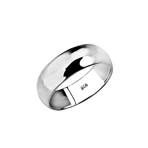 8MM Sterling Silver High Polished Half-Round Light Comfort Fit Classy Dome Wedding Band Ring